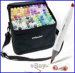 Ohuhu Marker 72 colors Double Tipped with Blender Pen Art Brush Carrying Case