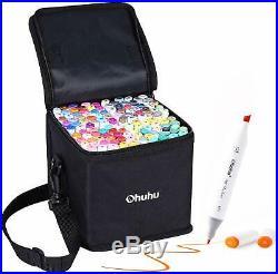 Ohuhu Marker Pen 120 Color Set For Comic With Blender Pen & Carrying Case illust