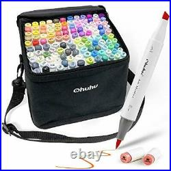 Ohuhu illustration Marker 120 Color Brush Type with Blender Pen Carrying case