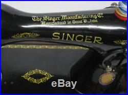 Original Cast Iron Singer 15k Hand Sewing Machine With Wooden Carry Case