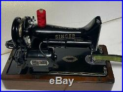 Original Singer 99 Electric Knee Operated Sewing Machine With Wooden Carry Case