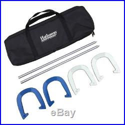 Outdoors Family Fun Game Heavy Duty Crafted Horseshoe Stakes Set w Carrying Case