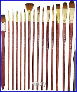 Paint Brush Set WithCarrying Case-Organizer 15 + 1 Professional Grade Wood Kit &
