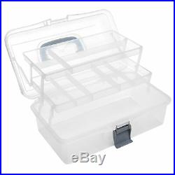 MyGift Plastic 2 Tier Trays Craft Supply Storage Box//Firstaid Carrying Case w//Top Handle /& Latch Lock