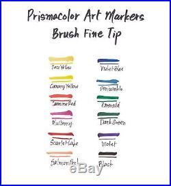 Premier Double-Ended Art Markers Fine and Brush Tip 24-Count with Carrying Case