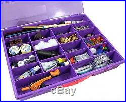 Purple Craft Storage and Carrying Case, Plastic Multiple-Compartment Organizer