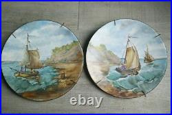 Rare Pair Set with Carry Case Scene Navy Painted To La Main. Hand Make