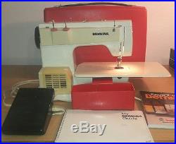 Rare Vtg Bernina Record 830 sewing machine withred carry case, manuals&presser feet