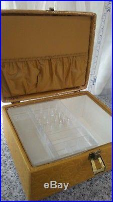Retro mid-century sewing box craft carry case