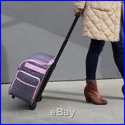 Rolling Sewing Machine Tote Case Storage Travel Carrying Bag Large Pink & Grey
