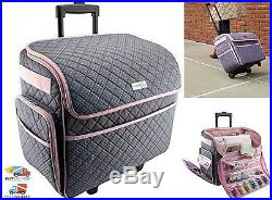 July 30, 2018 SEWING MACHINE CARRY CASE Rolling Storage Tote Carrying  Luggage Travel Bag Pink