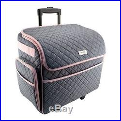 September 2, 2018 SEWING MACHINE CARRY CASE Rolling Storage Tote Carrying  Luggage Travel Bag Pink