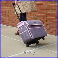 SEWING MACHINE CARRY CASE Rolling Storage Tote Carrying Luggage Travel Bag Pink