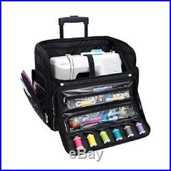 SEWING MACHINE CARRY CASE Rolling Storage Tote Luggage Trolley Travel Bag Black