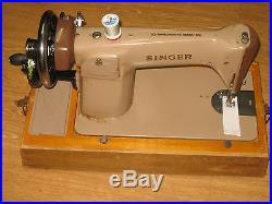 Singer 201 Converted Hand Sewing Machine With Wooden Carry Case