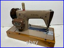 SINGER 201k ELECTRIC FOOT PEDAL OPERATED SEWING MACHINE WITH CARRY CASE
