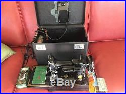 SINGER 221 Featherweight Sewing Machine w Carry Case & AttachmentsCLEAN1953