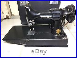 SINGER 221 Featherweight Sewing Machine w Carry Case Keys & Attachments 1957