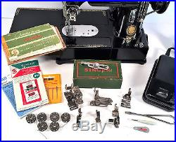 SINGER 222 222k Featherweight Sewing Machine w Carry Case & Accessories110v'54