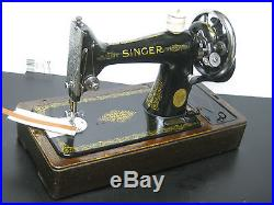 Singer 99k Cast Iron Hand Crank Sewing Machine, Accessories, Carry Case, Serviced