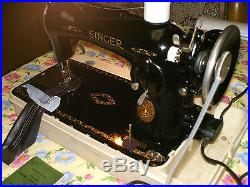 Singer Model 15-91 Serial -ae732636 With Carrying Case In Very Good Condition