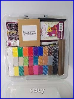 Sculpey Oven-Bake Clay Studio Kit Clay Tools Glaze Molds Mat 54 pc Carrying Case