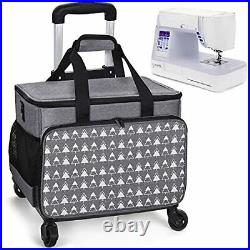 Sewing Machine Carrying Case, Collapsible Trolley Bag with Wheels for gray