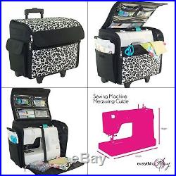 Sewing Machine Case On Wheels Rolling Tote Carrying Luggage Travel Storage Bag