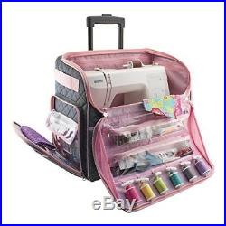 Sewing Machine Case On Wheels Rolling Tote Carrying Luggage Travel Storage Carry