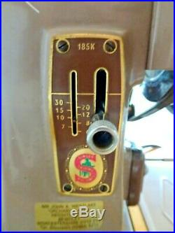 Singer Sewing Machine 185K Electric Tested Working with Carry Case & Key