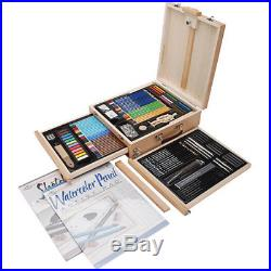 Sketch Drawing Kit Painting Watercolor Pencil Carry Case Easel Artist Gift Set