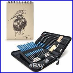 Sketching Pencils Set 41 Pieces In Travel Carry Case With 60 Sheets Sketch Pad