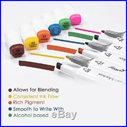 L/'émouchet Twin Marker Pens 168+2 Colors Dual Tips Art Animation Blender Pens...