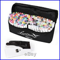 Twin Marker Pens 168+2 Colors Dual Tips Art Animation With FREE CARRY CASE