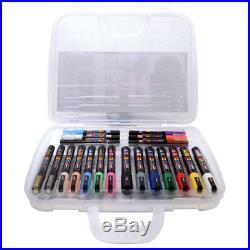 Uni Posca Art Markers Carry Case Pen Set 20 Colours / Sizes PC-1 PC-3 PC-5