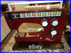 VIKING HUSQVARNA 6460 RED Colormatic SEWING MACHINE WITH CARRY CASE