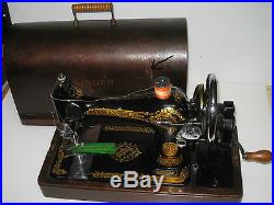 Vintage Cast Iron 28k Hand Crank Victorian Sewing Machine With Wooden Carry Case