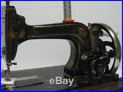Vintage Cast Iron Hand Crank Sewing Machine With Original Wooden Carry Case