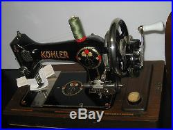 Vintage Hand Crank Sewing Machine With Bent Wooden Carry Case, Works Perfectly