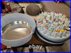 VINTAGE Tri Chem Liquid Embroidery Paint Set withRose Tote 48 Tubes