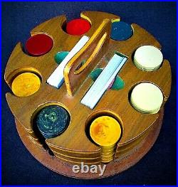 Vintage 1930's Bakelite Poker Chips & Crafted Wooden Carrying Case USA