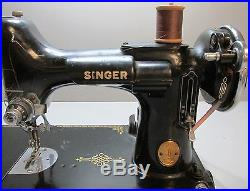 Vintage 1946 Singer Featherweight Sewing Machine with Pedal & Carrying Case