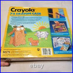 Vintage 1990 72 Crayola Crayon Colors With Holder Storage Carrying Portable Case