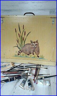 Vintage Artist Art Paint Painter's Supply Storage Carry Case Box Brush Canvas