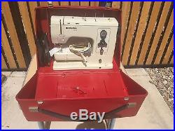 Vintage Bernina Record 830 Sewing Machine withRed Carry Case, Pedal & Knee Lift