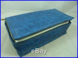 Vintage Blue Vinyl Painting Craft Paint Storage Carrying Case Organizer Insert