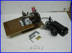 Vintage Cast Iron Toy Electric Sewing Machine With Original Carry Case