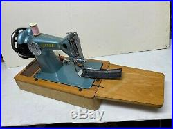 Vintage Chevret Converted Hand Crank Sewing Machine With Singer Carry Case