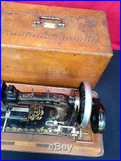 Vintage FRISTER & ROSSMANN Hand Crank Sewing Machine With Carry Case Working
