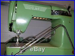 Vintage Green Elna Supermatic Sewing Machine IN Hard Carrying Case- NICE